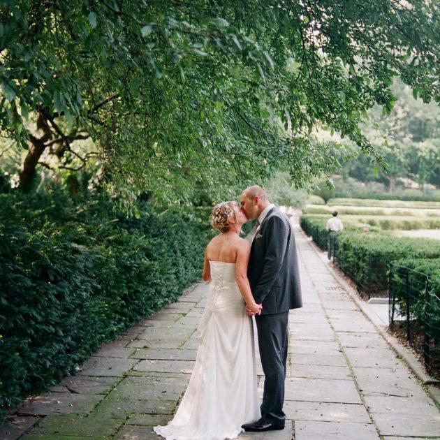 conservatory garden wedding couple